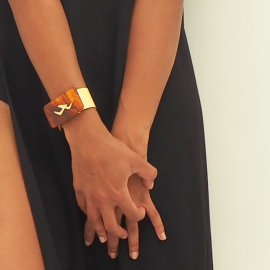 Trendy Bracelet Fauve Yellow Leather Egypt
