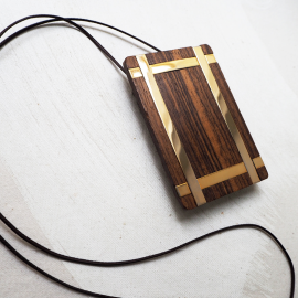 Design Pendant Necklace Ebony and Metal Virgo