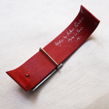 Red Leather Design Bracelet and Metal Bridge