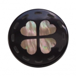 Brown happy Clover button 24mm