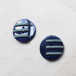Beautiful Blue Design Button 26mm Navy