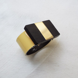 Ebony Leather Buckle Bracelet Mono