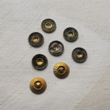 Small Design Buttons Green Gold 16mm