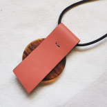 Fawn Pink Leather Design Necklace