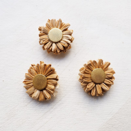 Raffia Beige and Metal Design Button 35mm
