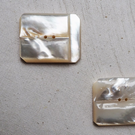 Jewelry Button Set Rectangle Mother of Pearl 32mm