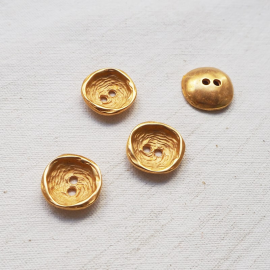 Design Button Metal Gold Furrow 18 mm