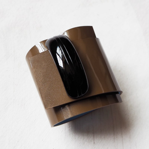 Design Leather Cuff Black Coffee Twist Pop