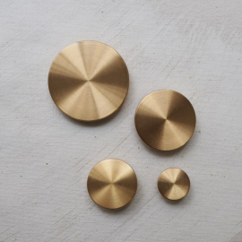Brushed Gold Metal Design Button Disc 14 to 45mm