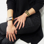 Design Cuff Bracelet Black Gold Mikado