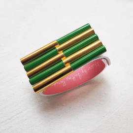 Design Cuff Bracelet Green Gold Mikado