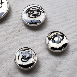 Design Button Metal Silver Black Arty 14-17-22mm