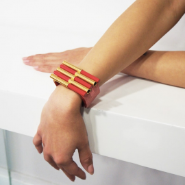 Jewelry Design Bracelet Mikado Red and Gold