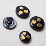 Jewelry Button Black Gold Paco 22-26-31mm