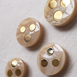 Jewelry Button Beige Gold Paco 26-31mm
