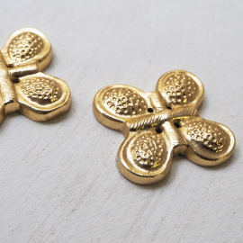 Jewelry Button Gold Metal Butterfly 44x44mm