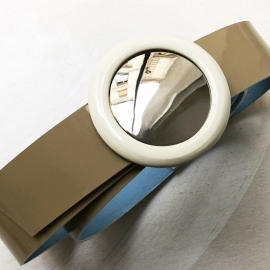 Jewelry Belt 70s Beige White Pop Mirror