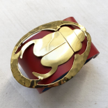 Design Bracelet Red Gold Leather Beetle