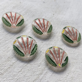 Design Button Glass Cactus Green and yellow 18mm