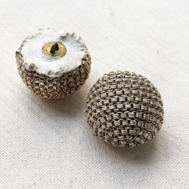 Jewelry Button Ball Metal Mesh 70s Gold 28mm