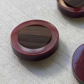 Jewel Button Galalith Red Brown Sensation 27mm