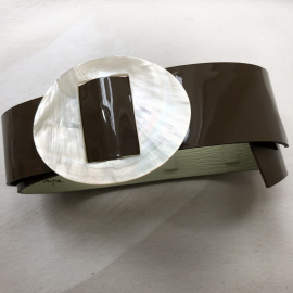 Jewelry Belt Oval Mother of Pearl Brown Leather