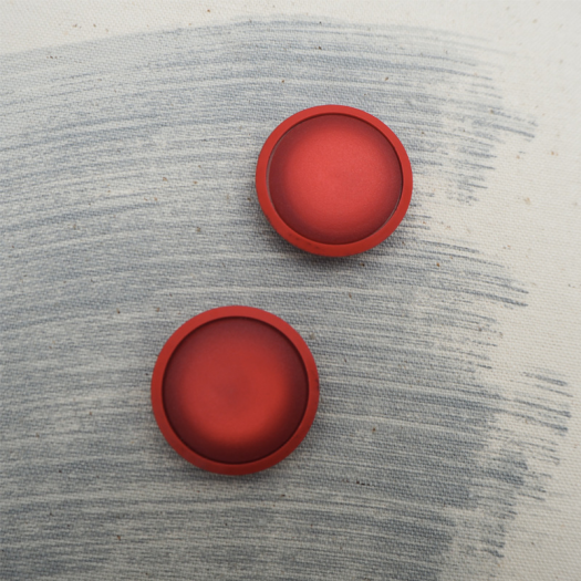 Bouton Macaron Rouge Coquelicot 30mm