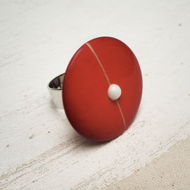Bague Bouton Originale Rouge Marin