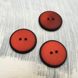Red Poppy Black Sewing Button 26mm