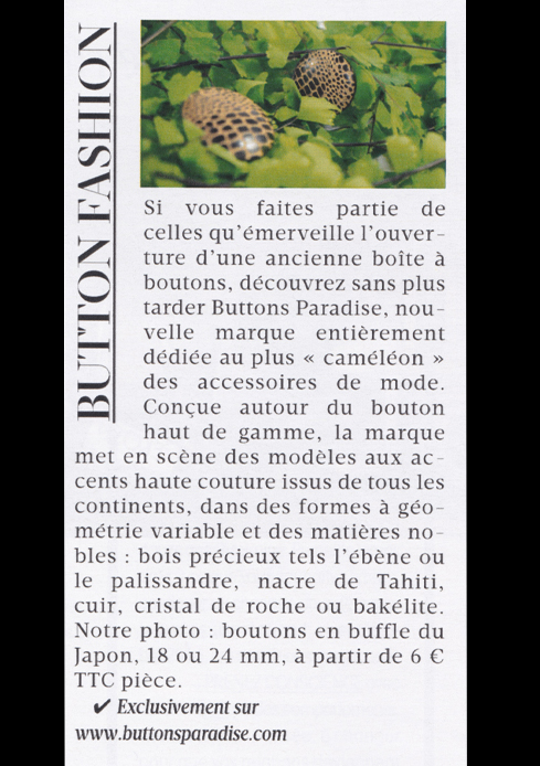 Article BUTTONS PARADISE Madame Figaro